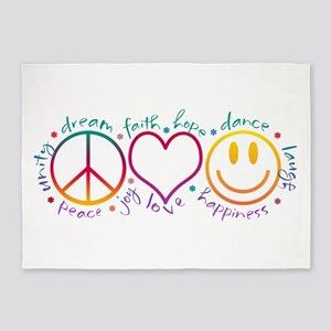 Peace Love Laugh Inspiration Design 5'x7'Area Rug