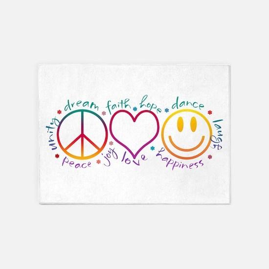 Peace Love Laugh Inspiration Design 5'x7'Area Rug
