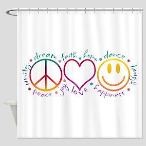 Peace Love Laugh Inspiration Design Shower Curtain