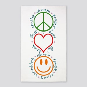 Peace Love Laugh Inspiration Design Area Rug
