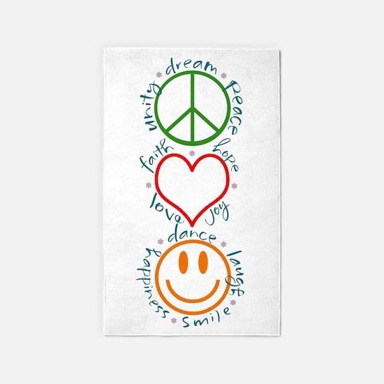 Peace Love Laugh Inspiration Design Area Rug