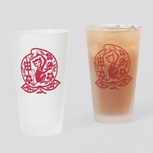Chinese Papercut Zodiac Monkey Drinking Glass