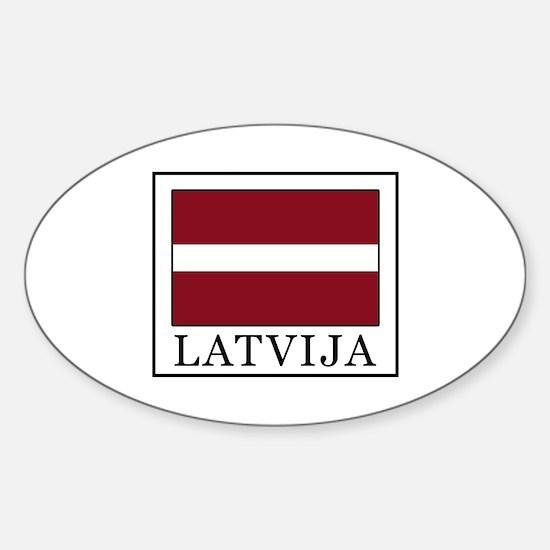 Cute Latvia flag Sticker (Oval)