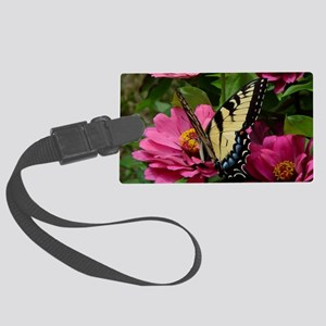 butterfly on zinnia Large Luggage Tag
