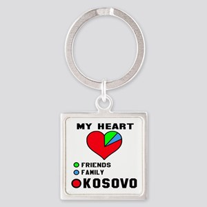 My Heart Friends, Family and Kosov Square Keychain