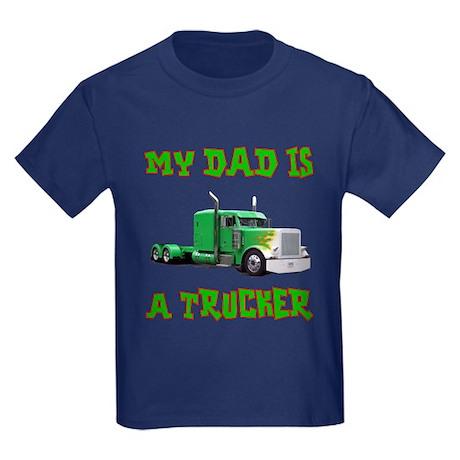 My Dad Is A Trucker Kids Dark T-Shirt