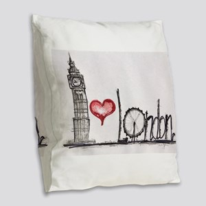 I love London Burlap Throw Pillow