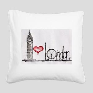 I love London Square Canvas Pillow