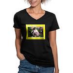 Don't Eat Me Women's V-Neck Dark T-Shirt