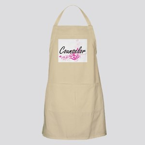 Counselor Artistic Job Design with Flowers Apron