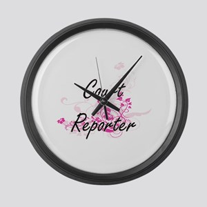 Court Reporter Artistic Job Desig Large Wall Clock