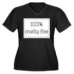 100% Cruelty Free Women's Plus Size V-Neck Dark T-