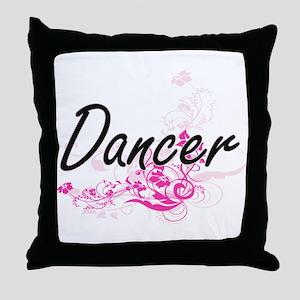 Dancer Artistic Job Design with Flowe Throw Pillow