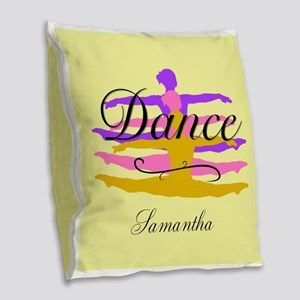 Yellow Dance Burlap Throw Pillow