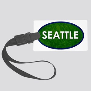 Seattle White Green Stone Large Luggage Tag
