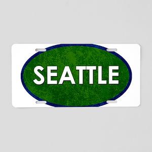 Seattle White Green Stone Aluminum License Plate
