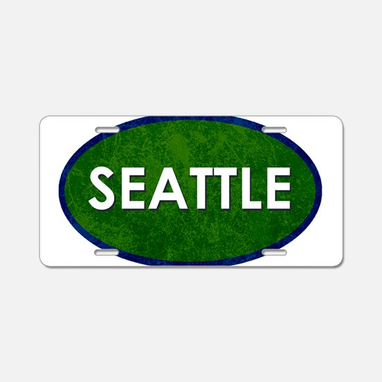 Seattle White Green Stone Aluminum License Plate