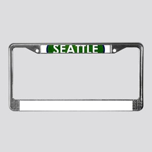Seattle White Green Stone License Plate Frame