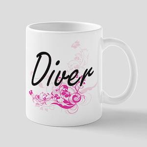 Diver Artistic Job Design with Flowers Mugs