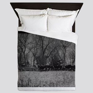 old farm scene with cows and truck Queen Duvet