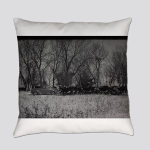 old farm scene with cows and truck Everyday Pillow