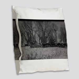 old farm scene with cows and t Burlap Throw Pillow