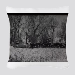 old farm scene with cows and t Woven Throw Pillow