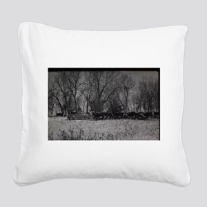 old farm scene with cows and Square Canvas Pillow