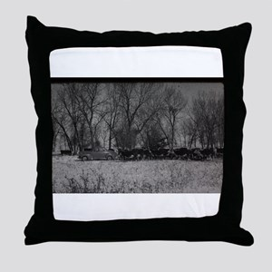old farm scene with cows and truck Throw Pillow