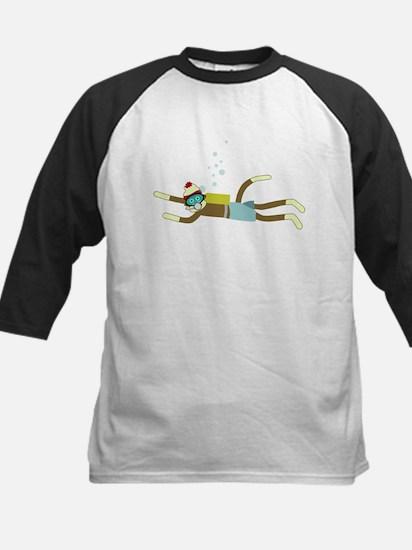 Sock Monkey Scuba Diver Kids Baseball Jersey