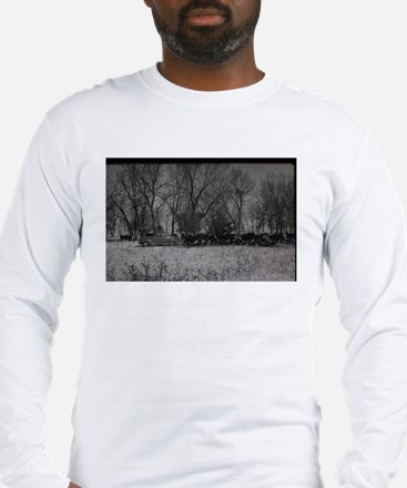 old farm scene with cows and t Long Sleeve T-Shirt