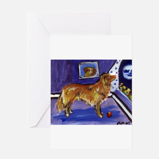 Funny Dog painting Greeting Card