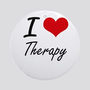 I love Therapy Round Ornament