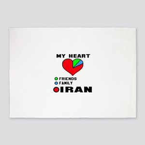 My Heart Friends, Family and Iran 5'x7'Area Rug