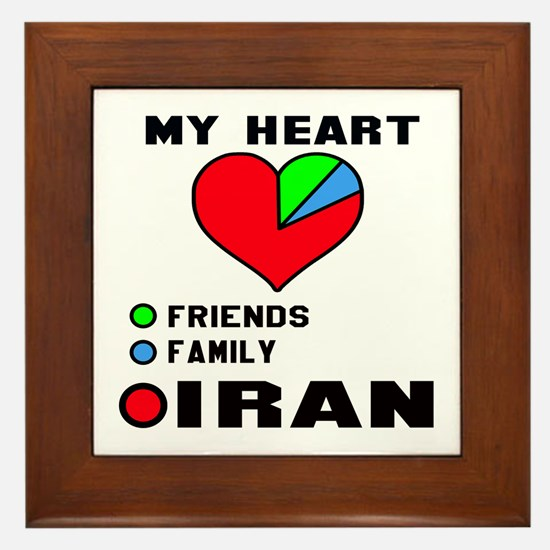 My Heart Friends, Family and Iran Framed Tile