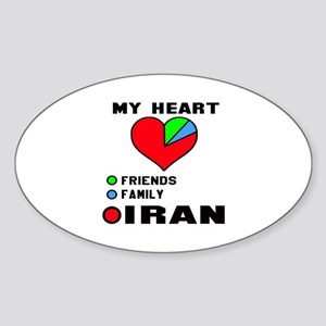 My Heart Friends, Family and Iran Sticker (Oval)
