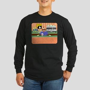 Sock Monkey Coffee Shop Long Sleeve Dark T-Shirt