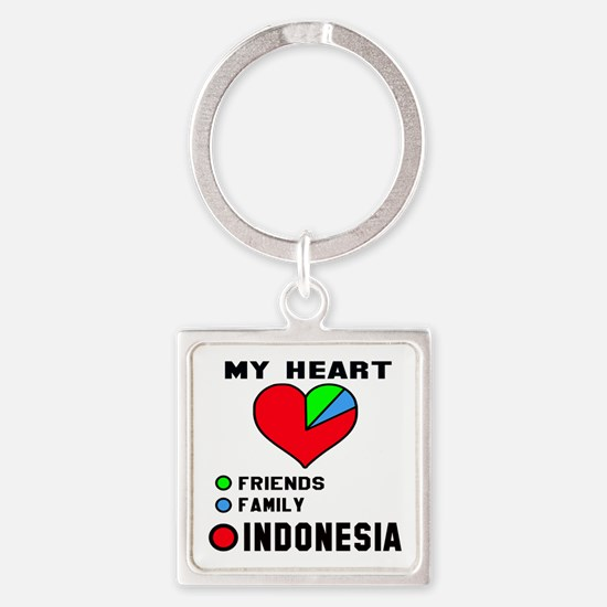 My Heart Friends, Family and Indon Square Keychain