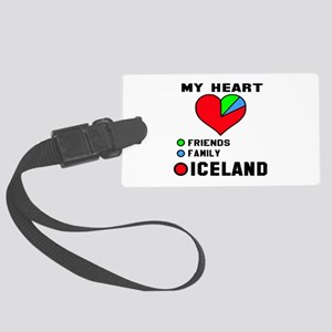 My Heart Friends, Family and Ice Large Luggage Tag