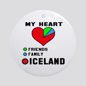 My Heart Friends, Family and Icelan Round Ornament