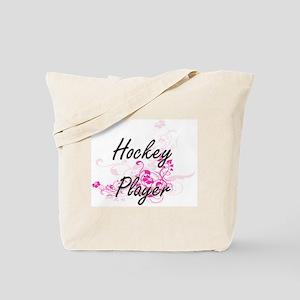 Hockey Player Artistic Job Design with Fl Tote Bag