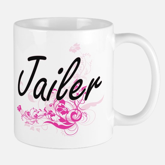 Jailer Artistic Job Design with Flowers Mugs