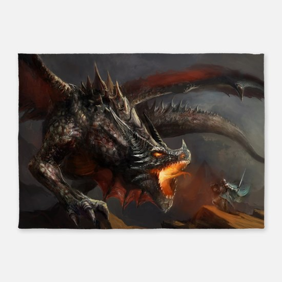 Dragon and Knight 5'x7'Area Rug