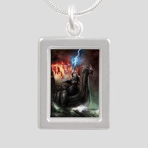 Dragon Viking Ship Silver Portrait Necklace