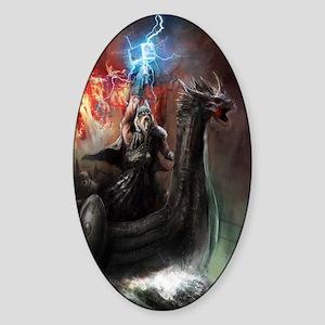 Dragon Viking Ship Sticker (Oval)