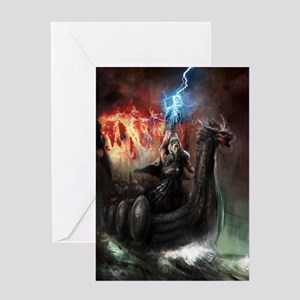 Dragon Viking Ship Greeting Card
