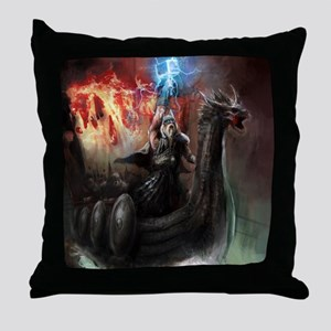 Dragon Viking Ship Throw Pillow