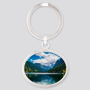 Mountain Valley Lake Oval Keychain