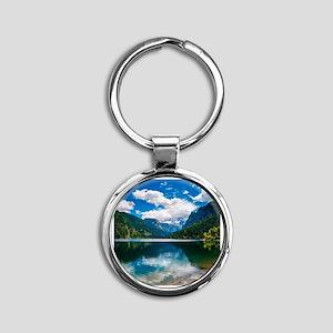 Mountain Valley Lake Round Keychain