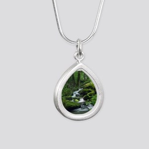 Summer Forest Brook Silver Teardrop Necklace